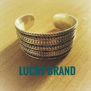 Lucky Brand Silver Rhinestone Cuff Bracelet New